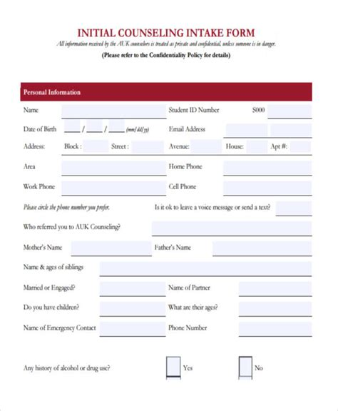 initial intake form 38 counseling forms in pdf