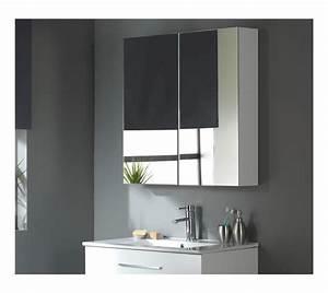 miroir armoire 80 cm blanc laque salle de bain wc With armoire salle de bain blanc laqué