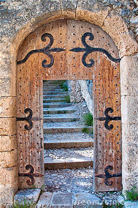 open wooden door  stairs royalty  stock images