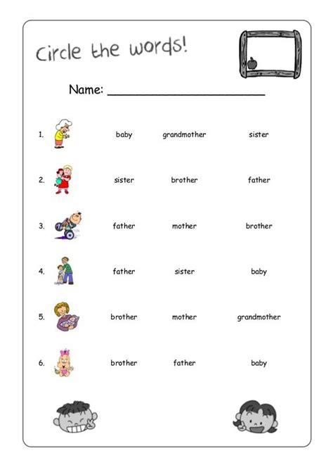 work sheets  kids words match  worksheets