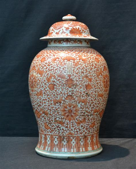 red white chinese ginger jar   tall