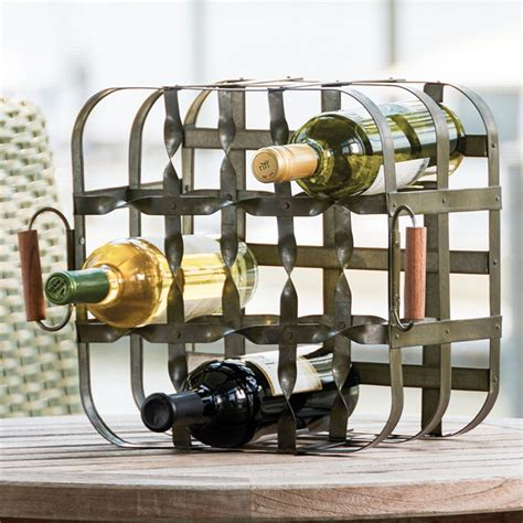 park designs  bottle metal crate wine rack