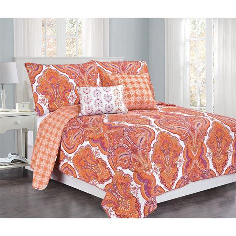 brilliance paisley orange coral with pillow 5