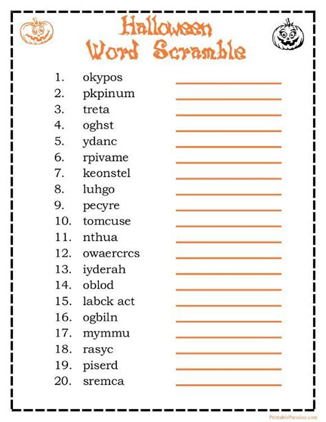 printable halloween word scramble game