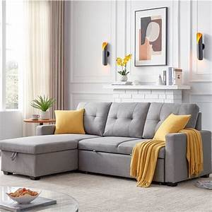 Shop, 82, U0026quot, Sleeper, Sectional, Sofa, Storage, Chaise, With, Pull-out, Bed, 3, Seat, Right, Handed