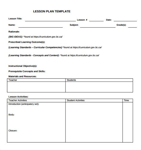 blank lesson plan template 9 lesson plan templates for free sle templates