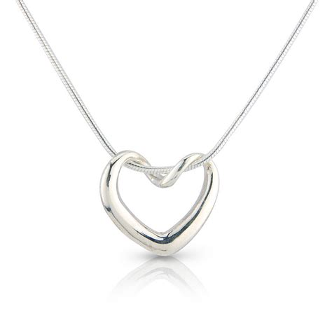silver twisted heart necklace by argent of london