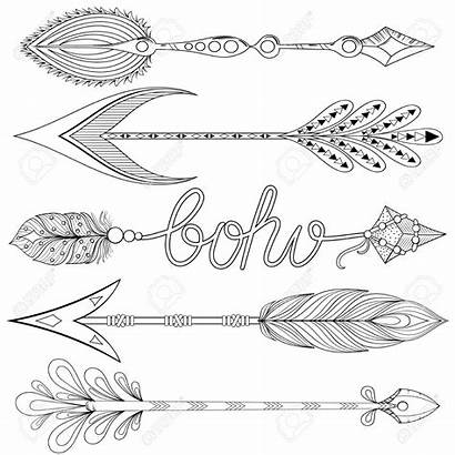 Coloring Pages Arrows Bohemian Decorative Adult Feathers
