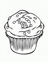 Cupcake Coloring Clipart Pages Sprinkles Square Cliparts sketch template