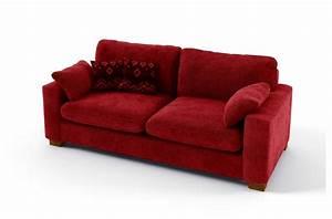 canape 3 places en tissu de qualite cosy rouge With tapis rouge avec xxl canape convertible