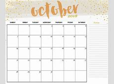 Free Printable October 2018 Calendar With Notes
