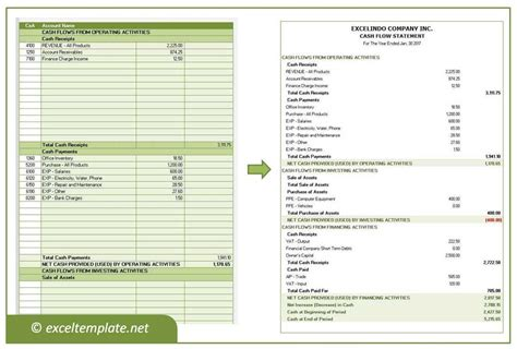 cash flow statement excel templates