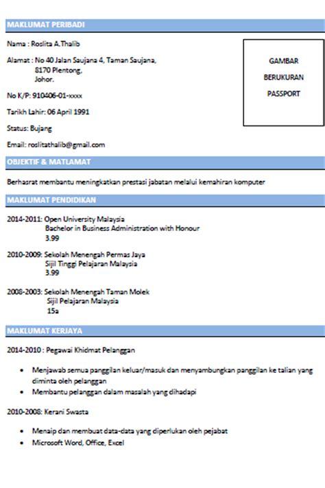template resume bahasa melayu fuhh contoh resume ringkas dan padat