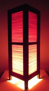 Thai Wood Lamp Handmade Oriental Red Bamboo Bedside Table