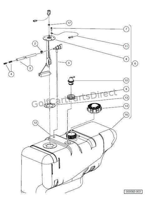 Golf Cart Fuel Diagram by Fuel Tank With Fuel Level Sending Unit Golfcartpartsdirect