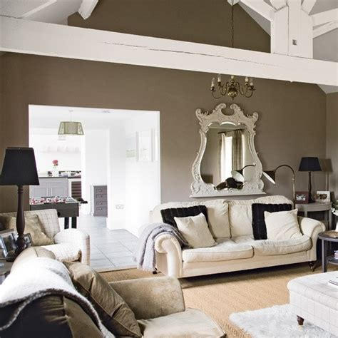taupe walls and white beams decorating home