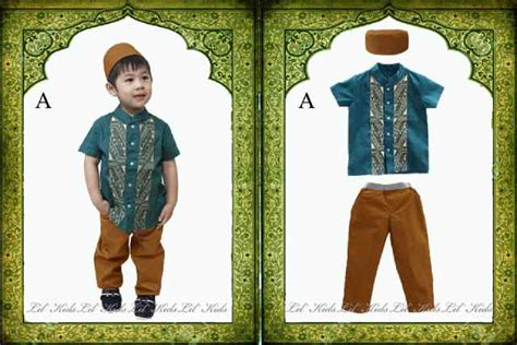 jual setelan muslim baju koko anak laki laki hijau lengan pendek umur 3 4 5 6 7 tahun