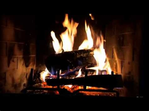 classic yule log fireplace with crackling sounds hd