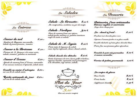 modele cuisine cagne exemple modele menu restaurant