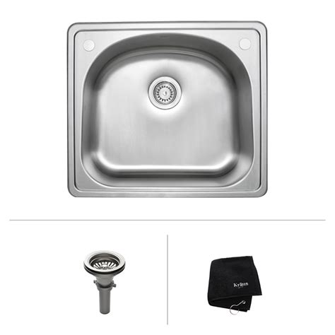 kitchen sink at lowes kraus ktm24 25 in topmount single bowl 18 gauge sink