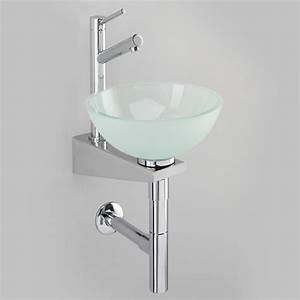 Lave Main Inox : lave mains vasque ronde verre satin console inox benesan ~ Melissatoandfro.com Idées de Décoration