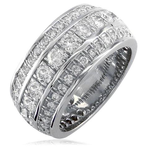 3 row mens wide wedding band in 14k white gold sziro jewelry