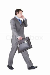 Young businessman with briefcase Stock