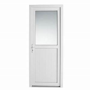 Porte de service pvc 1 2 vitree servicio castorama for Porte de service avec fenetre ouvrante