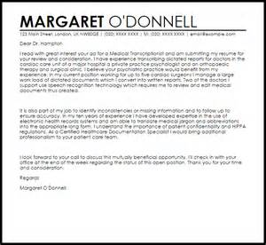 resume cover letter for transcriptionist transcriptionist cover letter sle livecareer