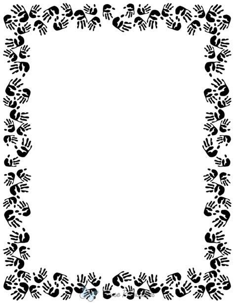 printable black  white handprint page border