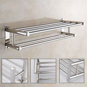 Stainless, Steel, Towel, Rack, Double, Layer, Towel, Rail, Wall, Mounted, Bathroom, Shelf, Storage, Shelf