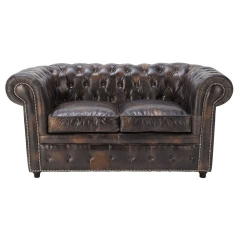 canapé capitonné chesterfield 2 places en cuir marron moka