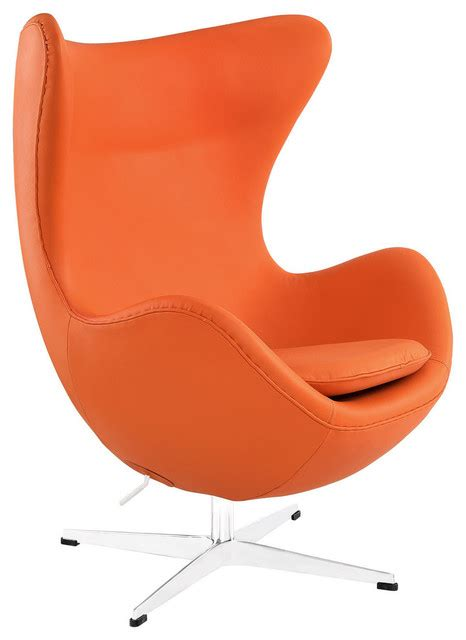 italian leather lounge chair orange contemporary