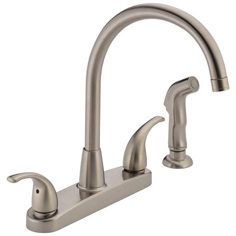 delta two handle kitchen faucet p299578lf ss ebay