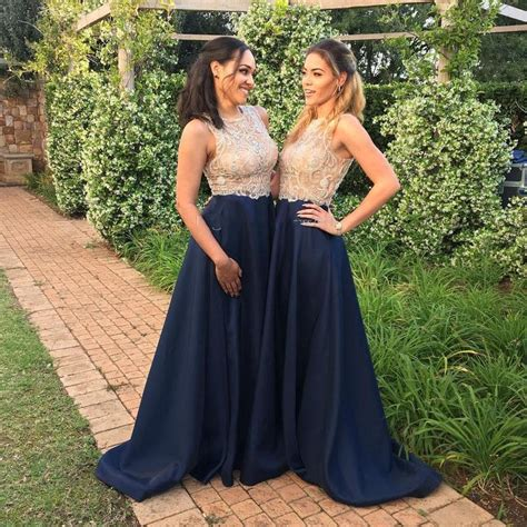 Gold And Blue Bridesmaid Dresses Navy Blue Sheer Neck ...