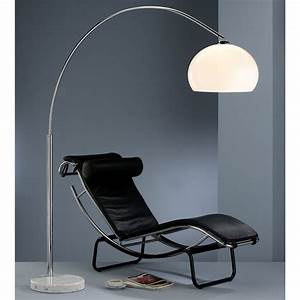 Stehlampe Gebogen : action floor lamp arc chrome stand marble base white ~ Pilothousefishingboats.com Haus und Dekorationen
