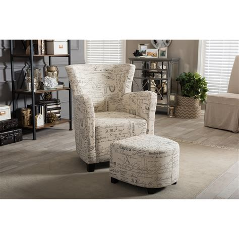 baxton studio benson script patterned fabric club chair and ottoman set