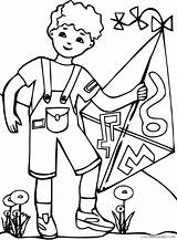 Kite Coloring Pages Boy Playing Coloring4free Hopscotch Template Listener Printable Clipart Clipartmag Clipartpanda sketch template