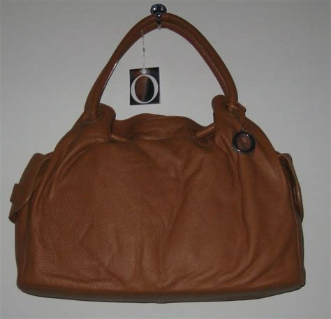 bnwt designer oroton tan leather ornament gather tote