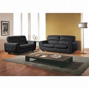 deco salon avec canape cuir noir With home salon canape cuir