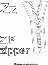 Zipper Coloring Zip Alphabet Letter Activity Pages Sheet Letters Lower Words sketch template
