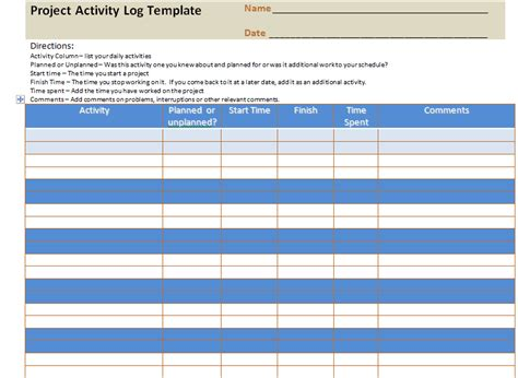 Project Activity Plan Template by Project Activity Log Excel Template Project Management