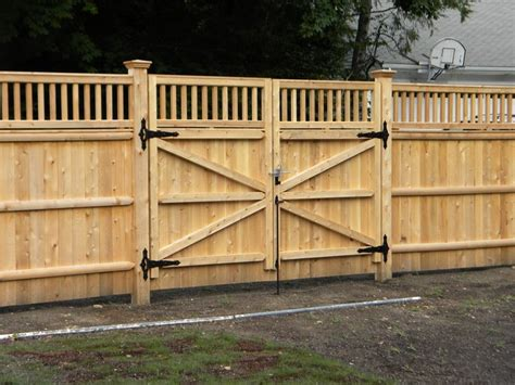 wooden fence gate designs privacy fence driveway gate fence company in ma builds a double drive gate this double drive
