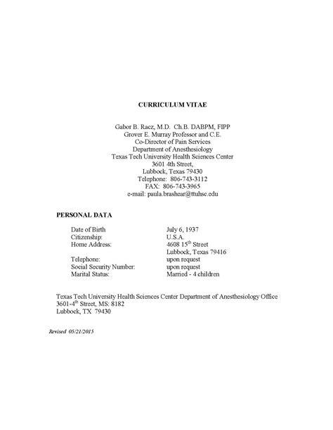Detailed Curriculum Vitae by Tiedosto Curriculum Vitae Of Gabor B Racz Pdf