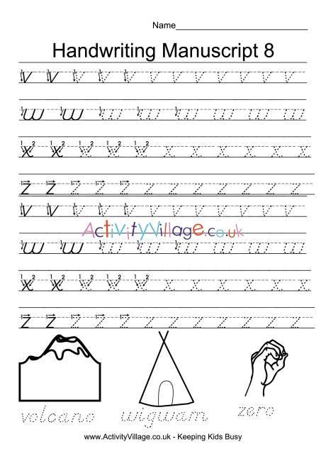handwriting practice manuscript