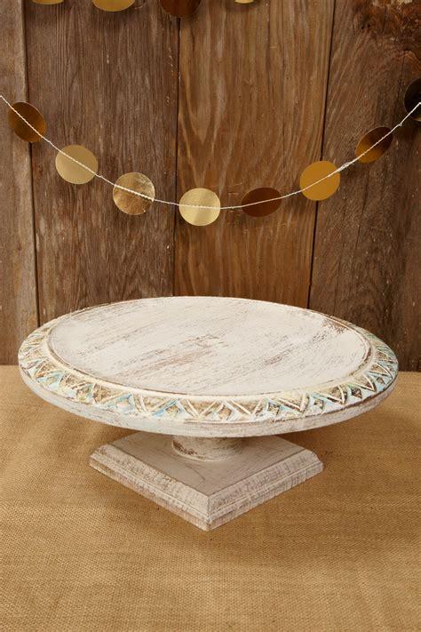 wood shabby chic cake stand