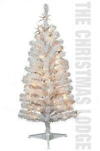 4 foot white christmas tree 4 ft pre lit white artificial tree iridescent branches new in box ebay