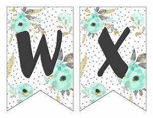 free printable alphabet banner mint gold printable With print out letters for banners