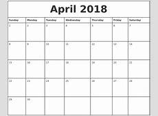 April 2018 Printable Monthly Calendar