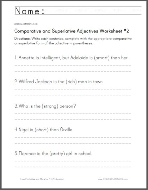 click here to print students are asked to rewrite the sentences using the comparative and